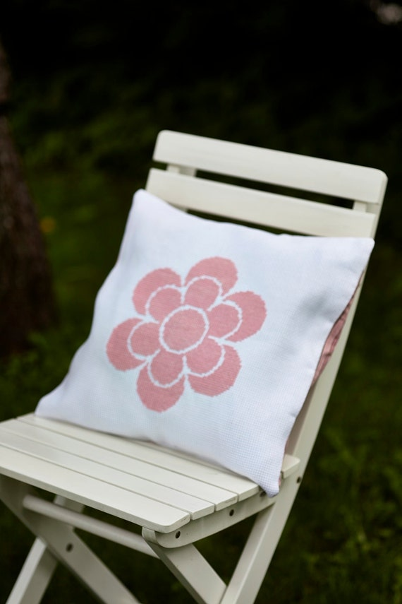 Cross stitch pattern FLOWER - pink,summer,cross stitch,needlepoint,pillow cover,Scandinavian,embroidery,girls,kids,diy,easy,Anette Eriksson
