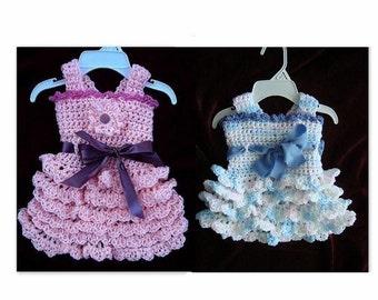 CROCHET PATTERN, crochet Baby Dress - Girls Dress Flapper Style, Lacy Ruffles  - newborn to adult  - # 583 , jumper or sundress girl's dress