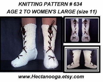 Slippers KNITTING PATTERN - Tall boot style, lace up, age 2 to adult large (women's 11), #634, Easy Beginner Level, pdf digital downloads