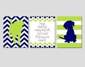 Baby Boy Nursery Art Trio - Set of Three 8x10 Prints - Chevron Stripe Puppy Dogs, Polka Dot Quote - Frogs Snails and Puppy Dog Tails