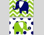 Elephant Nursery Art - Set of Two 8x10 Prints - Chevron Elephant - Polka Dot Elephant - Modern Kids Wall Art - CHOOSE YOUR COLORS
