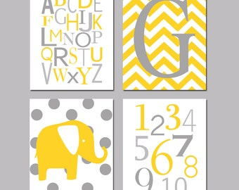 Yellow and Gray Nursery Art Quad - Chevron Initial, Alphabet, Numbers, Polka Dot Elephant - Set of Four 8x10 Prints - CHOOSE YOUR COLORS