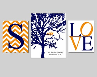 Family Tree Love - Chevron Initial, Family Established Birds Tree, Love - Set of Three Prints - 8x10 and 11x14 - GREAT GIFT