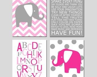 Baby Girl Elephant Nursery Art - Playroom Rules, Alphabet, Chevron Polka Dot Elephants - Set of Four 8x10 Prints - CHOOSE YOUR COLORS