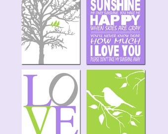Purple Green Girl Nursery Art - Set of Four 11x14 Prints - You Are My Sunshine, Love, Birds in a Tree, Bird on a Branch - CHOOSE YOUR COLORS