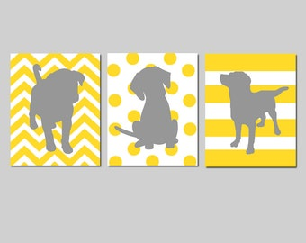 Puppy Dog Trio - Set of Three 8x10 Prints - Kids Wall Art for Nursery - Chevron, Polka Dots, Stripes - CHOOSE YOUR COLORS - Yellow and Gray