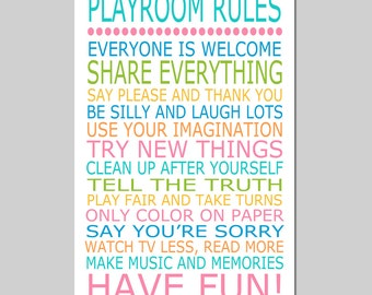 Playroom Rules - 11x17 Quote Print - Modern Nursery Childrens Decor - Kids Wall Art - Nursery Decor - Nursery Wall Art - CHOOSE YOUR COLORS