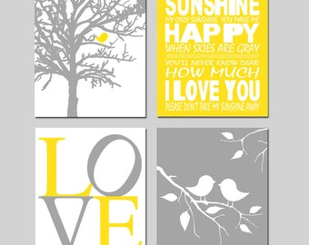 Yellow Gray Nursery Art - Baby Bird Sunshine Quad - Set of Four 8x10 Prints - You Are My Sunshine, Baby Birds, Love - CHOOSE YOUR COLORS