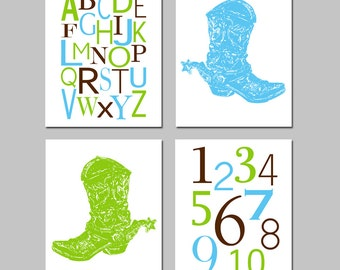 Country Western Nursery Art Quad - Set of Four 11x14 Prints - Modern Alphabet and Numbers - Wild West Cowboy Boot - Choose Your Colors