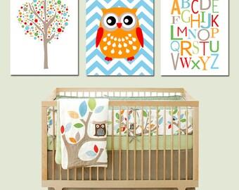 Tree Top Trio - Set of Three 8x10 Nursery Prints - Tree Dot, Chevron Owl, Modern Alphabet - Kids Wall Art - Choose Your Colors - Skip Hop