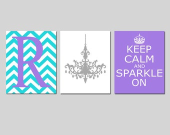 Keep Calm and Sparkle On, Chevron Monogram Initial, Chandelier Trio - Set of Three Prints - CHOOSE YOUR COLORS - Teen Girl Bedroom Art