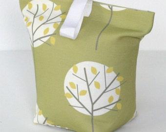 Olive Green Tree print fabric door stop