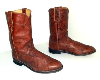 Brown Cowboy Boots -Justin brand -Roper style - size 9.5 D or cowgirl size 11