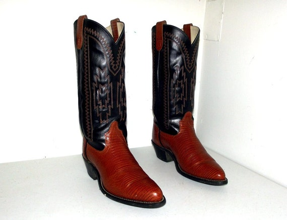 two tone black and brown faux lizard cowboy by