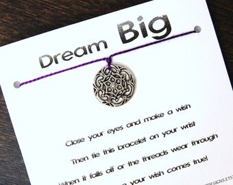Dream Big - Silver Dreamcatcher Charm - Wish Bracelet - Shown In VINEYARD - Over 100 Different Colors Are Also Available