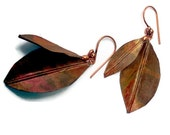 Copper color paper  leaf earrings