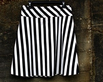 A Line Black and White striped skirt, Striped skirt, Aline skirt, Custom Made in all Lengths and Sizes