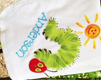 personalized baby blanket with caterpillar, red and green caterpillar blanket, caterpillar baby blanket