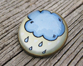 Rainy Cloud Glass Brooch - Round bronze brooch with raindrops