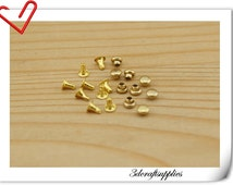 3mm Rivets and Studs for Handbags, Belts, Carrying Bags, Suitcases, Shoes 50sets per bag golden   H7
