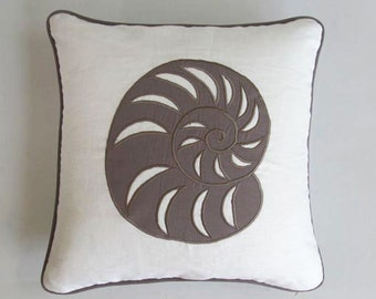 taupe nautilus sea shell on white pillow custom made in taupe navy and white 18 inch 1pcs in STOCK 20% discount