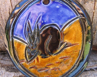 Round Black Rabbit Tile  - Handmade Ceramic Tile - Decorative Tile