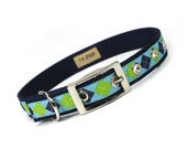 blue and green argyle metal buckle dog collar (3/4 inch)