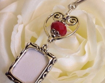 Wedding bouquet photo charm with red bead and heart. Bridal bouquet charm. Wedding photo keepsake. Gift for bride.
