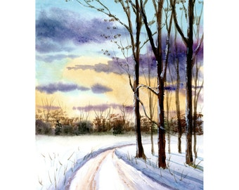 Watercolor landscape Painting PRINT country road snow Winter 4 four seasons trees Landscape sunset lane forest 7x10 GICLEE