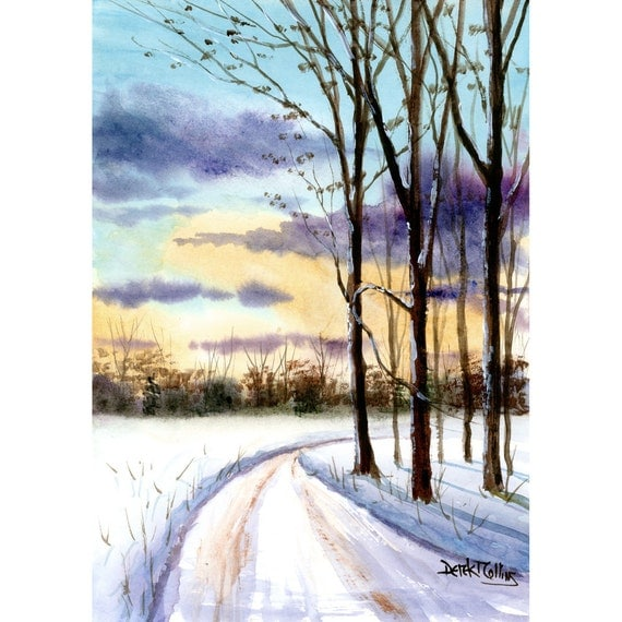 watercolor landscape painting print country road snow winter 4 On painting in winter