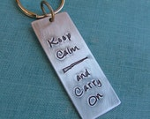 Keep Calm and Carry On Concealed Carry Custom Hand Stamped Heavy Aluminum or Copper Keychains by MyBella