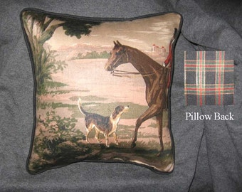 ENGLISH FOXHUNT Small Pillow Quality Upholstery Fabric Brown Tones