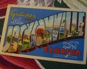 Vintage Florida 1940s linen postcard - Greetings from Jacksonville Florida - 3floridagirls
