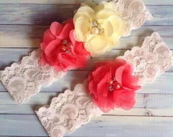 Coral - yellow CHIFFON  wedding garter set / bridal  garter/  lace garter / toss garter
