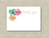 watercolor floral thank you note printable instant download