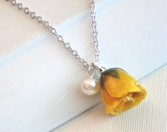 Real Rosebud Necklace - Yellow , Natural Preserved,  Pearl, Sterling Silver