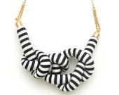 Stripe Rope Knot Necklace - BLACK