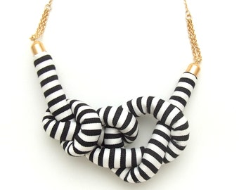 Stripe Rope Knot Necklace - BLACK