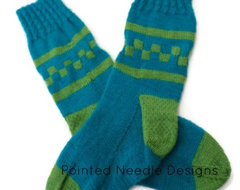 Socks - Hand Knit Women's Blue Topaz and Pea Pod Green Checkerboard Socks - Size 7-8.5