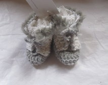Baby Uggs Unisex Hi Top Faux Fur Trimmed White Grey  Baby Booties 0 - 6 months