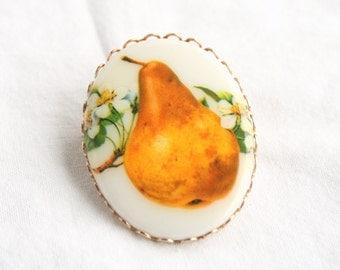 Pear Brooch Vintage Oval Ceramic Brooch Pin Oval Transfer