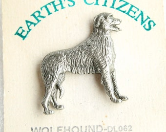 Wolfhound Dog Pin Vintage Figural Pewter Tie Tac Pin Brooch