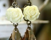 Topaz Swarovski Crystals Creamy Shabby Roses Dangle Earrings Fresh Victorian Romance