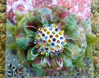 Green and Multi-Colored Ribbon Flower Brooch