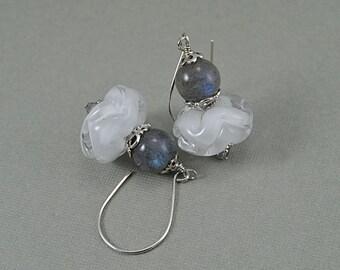 Sculpted White Lampwork Beads Labradorite Sterling Silver Earrings