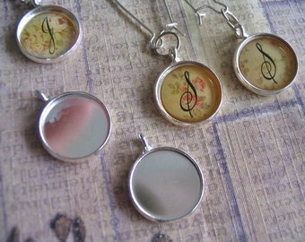 10pc... 14mm Circle Bezel trays...with glass inserts...Mix and Match...Silver... Pendant Trays, Earring Trays