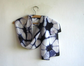 Navy Blue Hand Dyed  Silk Shibori Scarf