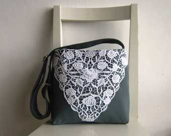OOAK White Lace on Pale Blue Suede Fabric Messenger