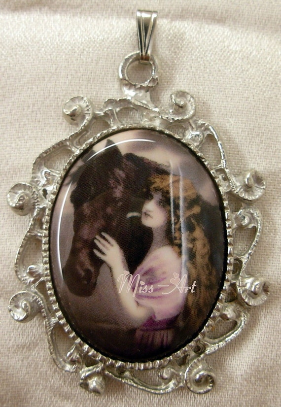 Victorian Lady With Horse Stallion Vintage Ephemera Porcelain Cameo Silvertone Brooch And Pendant Miss-art