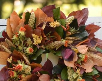 """22"""" Fall Harvest Wreath, fall wreath, dried wreath, grains wreath, fall leaved wreath, autumn wreath, indoor wreath"""